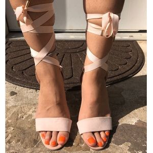 Forever 21 Pink Lace Up Heels